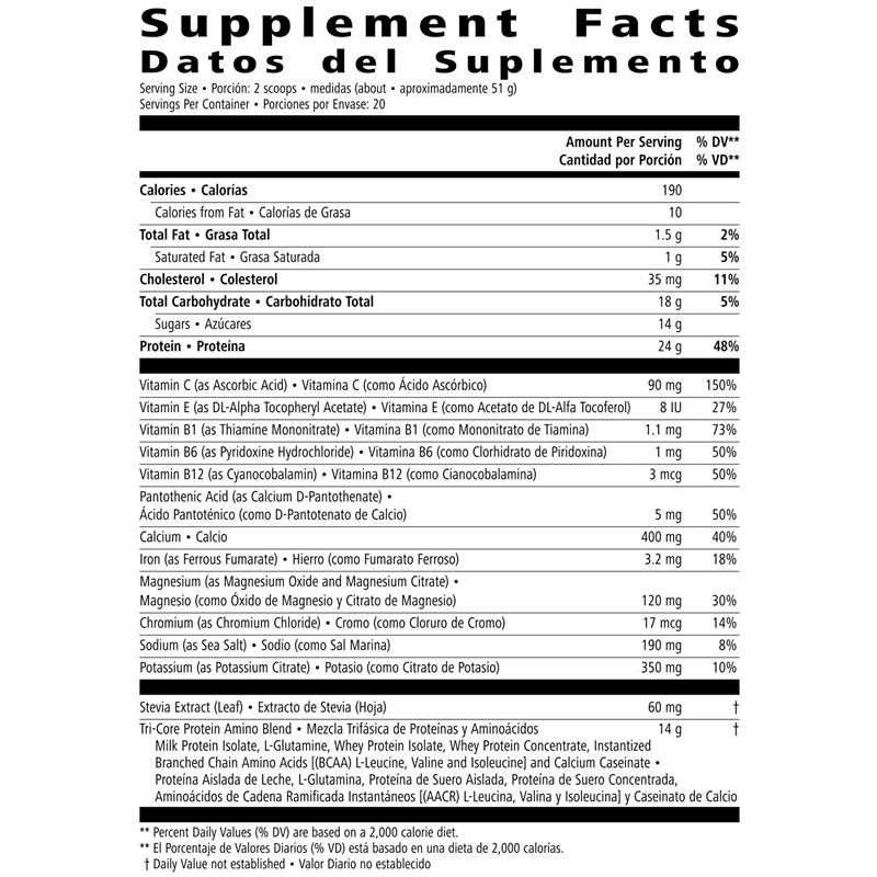 herbalife 24 nutrition label