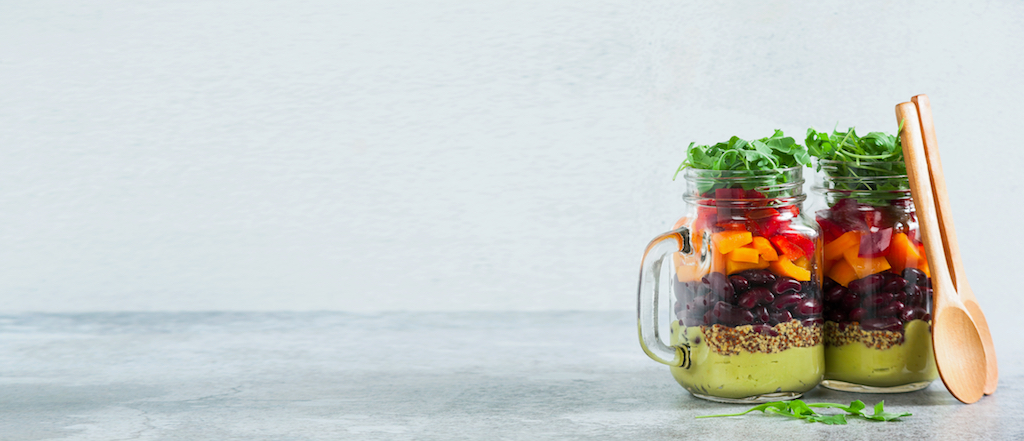 healthy jar filled with  healthy food vegetables